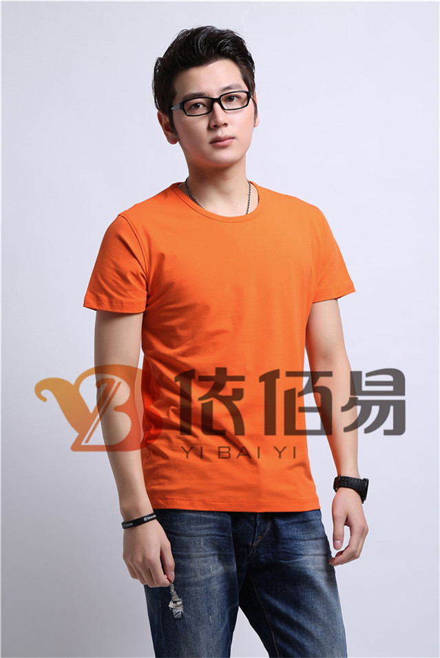 橙色纯棉广告衫定制
