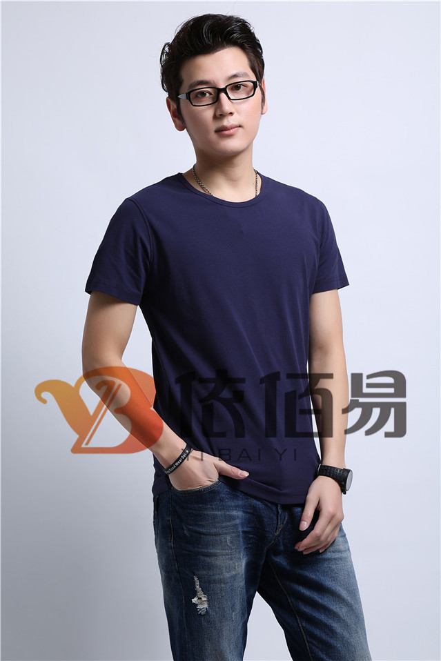 藏青色纯棉T恤定制