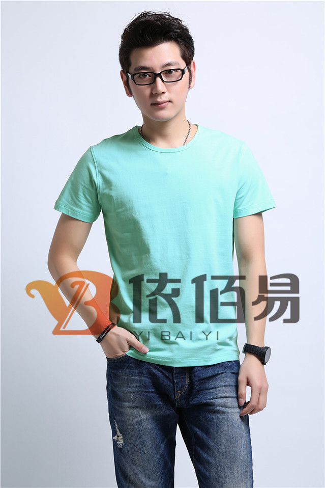 淡绿色纯棉T恤定制