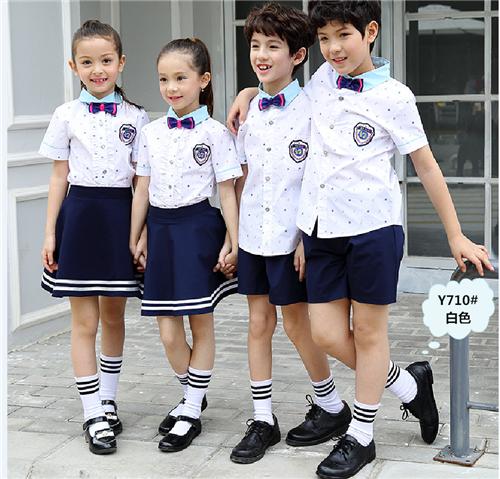 夏季小�W青姣校服定制