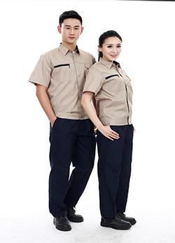 棕色短袖工作服定制