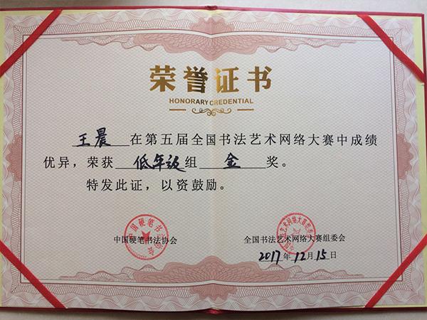 王晨全国书法艺术网络大赛金奖
