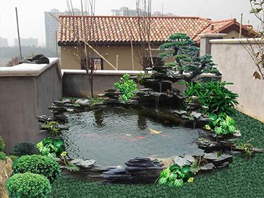 室外水池假山