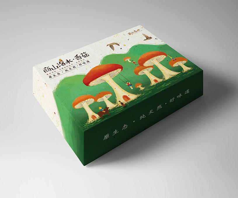 商山洛水秦岭香菇包装设计