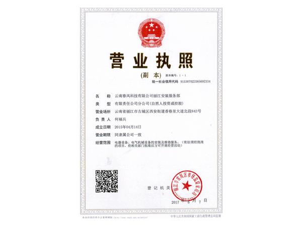 丽江分公司营业执照