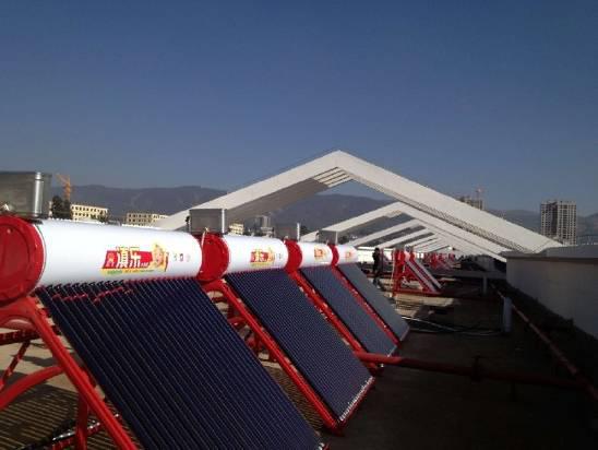 云南时代英捷300套太阳能家用热水系统工程安装案例