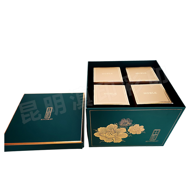 月饼白卡纸盒双层8个装正方形