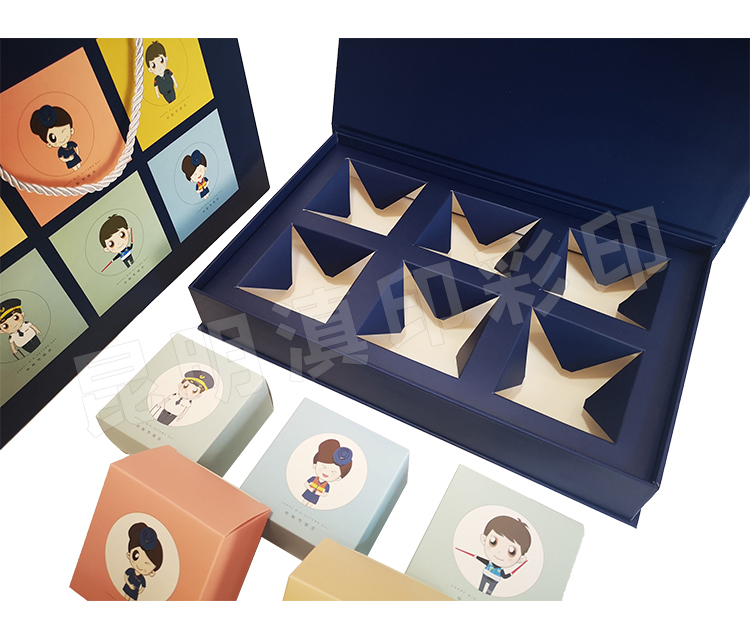 月餅精裝書型盒深藍6個裝-昆明航空