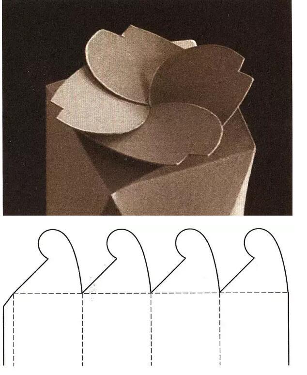 连续摇翼窝进式盒盖结构展开图