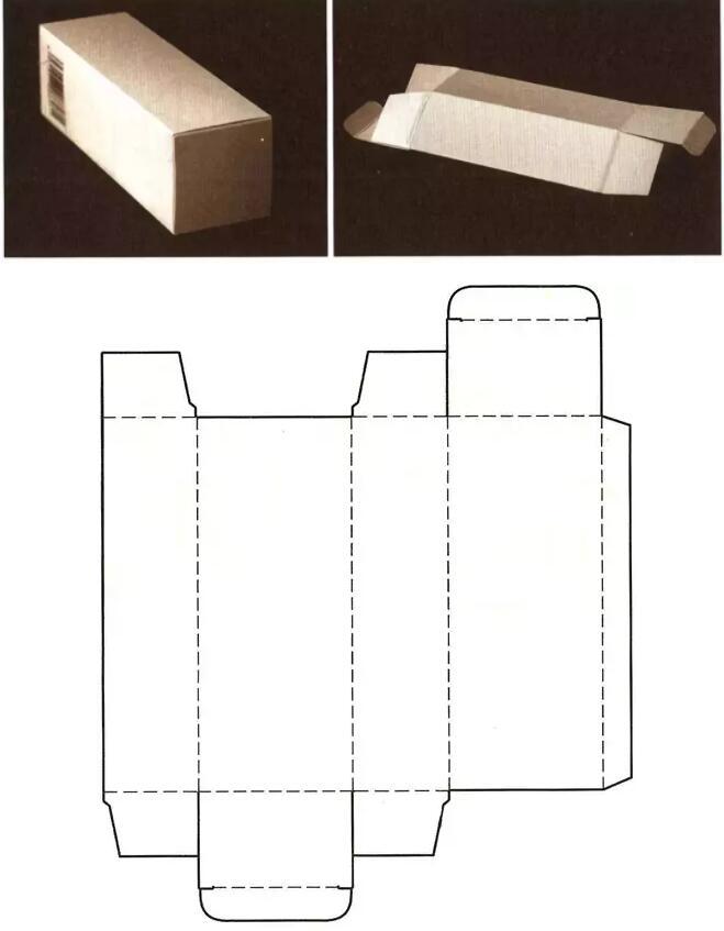 摇盖双插口式封底结构展开图