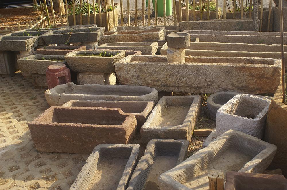 昆明园林景观石缸石磨批发