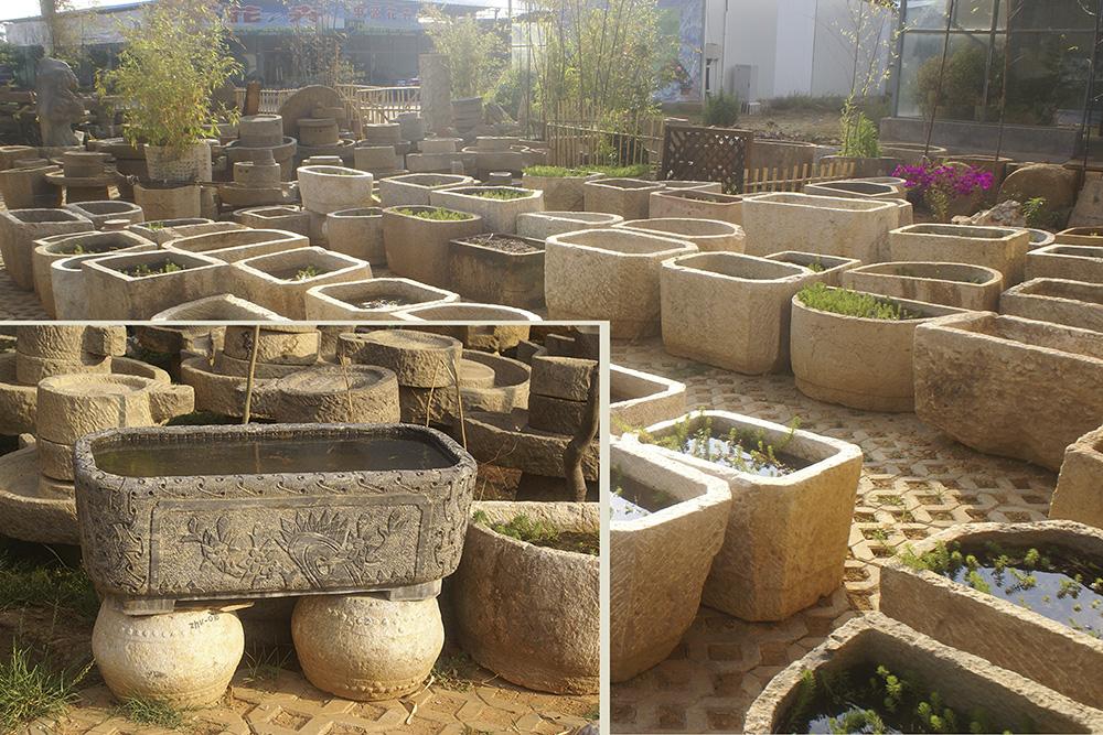 私家庭院园林景观石缸石磨