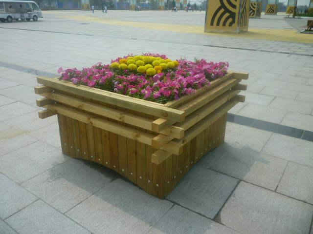 花园防腐木花盆