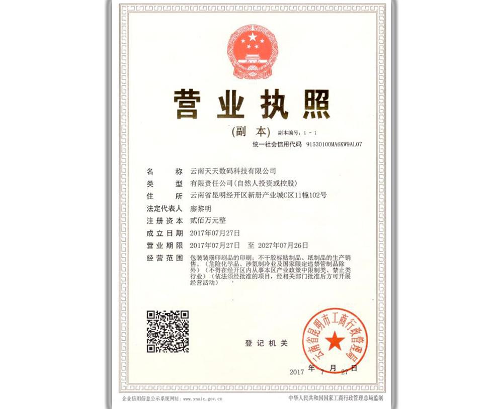 云南天天数码科技营业执照