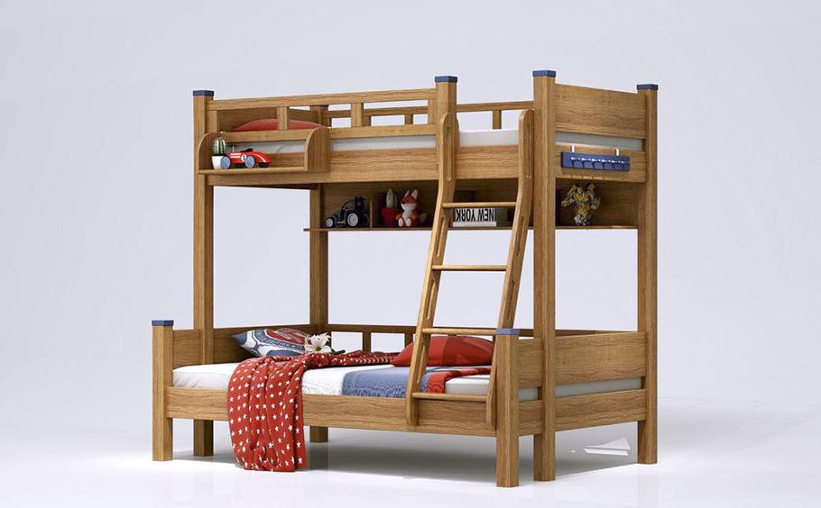 昆明神工實木兒童家具雙人床效果圖展示