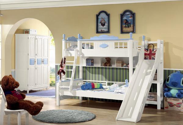 兒童臥室高低床帶滑梯