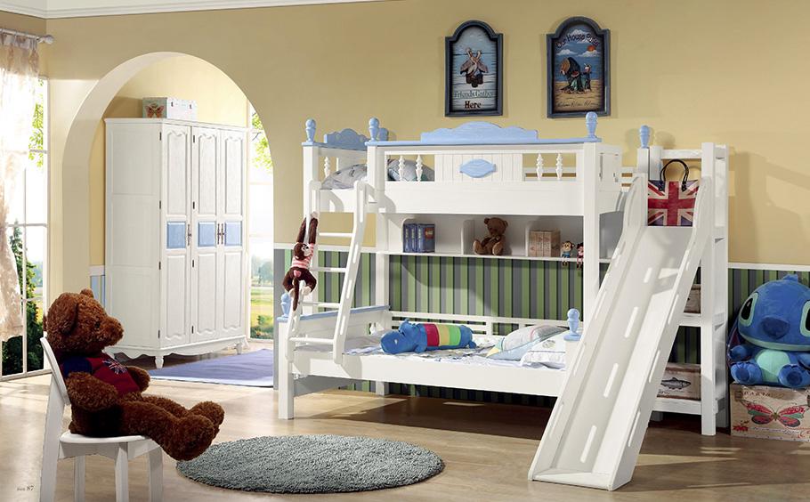 兒童臥室高低床帶滑梯圖片展示