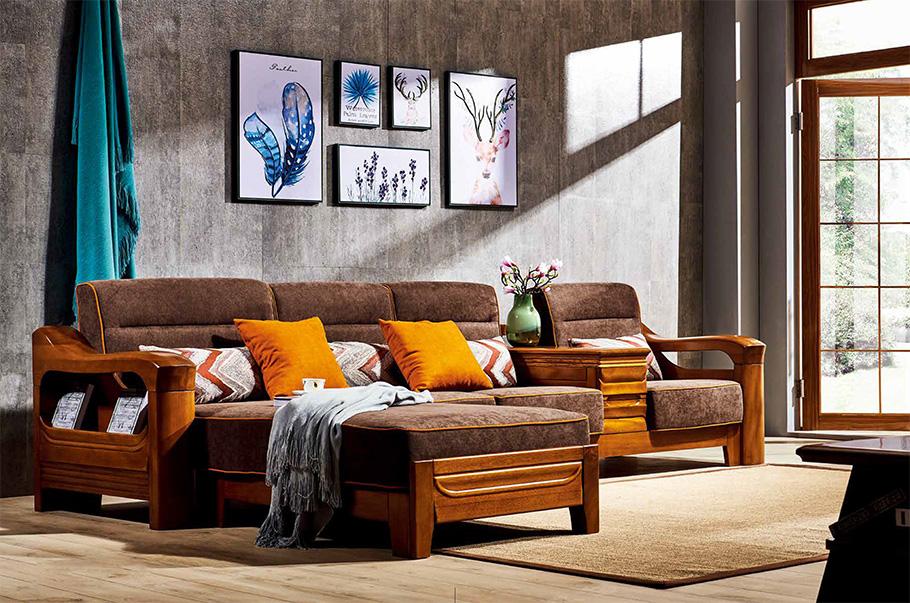 昆明實木家具轉角沙發