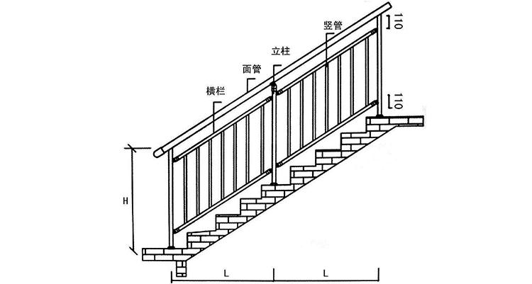 锌钢楼梯扶手安装示意图