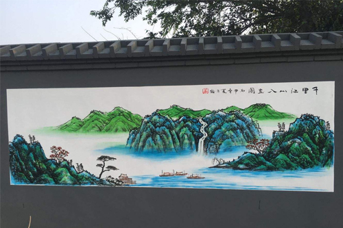 墙体手绘广告图片