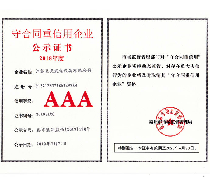 守合同重信用企業證書