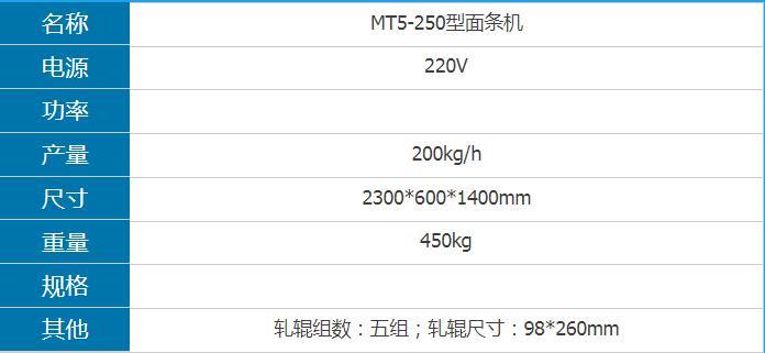 MT5-250型面条机