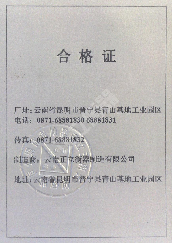 全电子汽车衡合格证(反面)