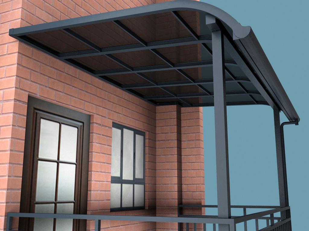 铝合金雨棚安装图片展示