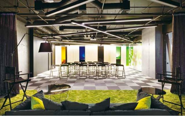 LGpvc塑胶地板•空间设计|会议室的拼色战略!