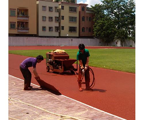 體育場透氣型塑膠跑道施工