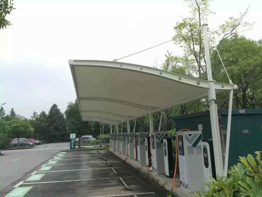 膜结构自行车充电桩车棚