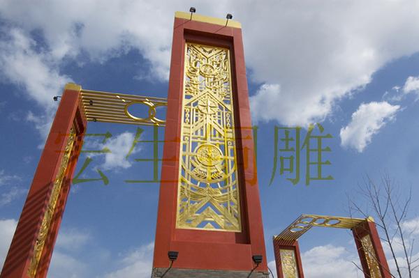 北京国奥村雕塑大门紫铜手工锻造