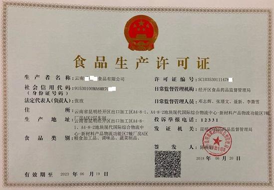 糧食加工品、調味品、蔬菜制品——食品生產許可證