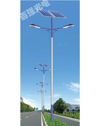雙臂太陽能路燈燈桿