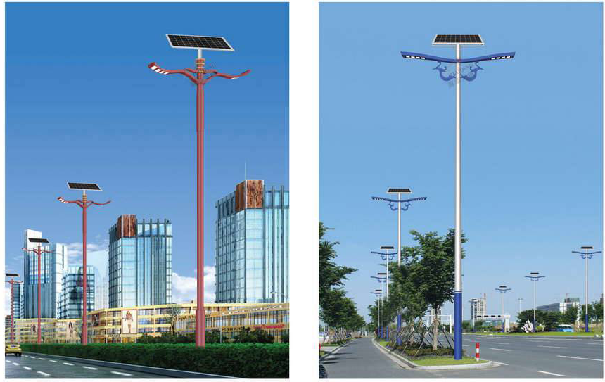 西安雙臂太陽能路燈燈桿