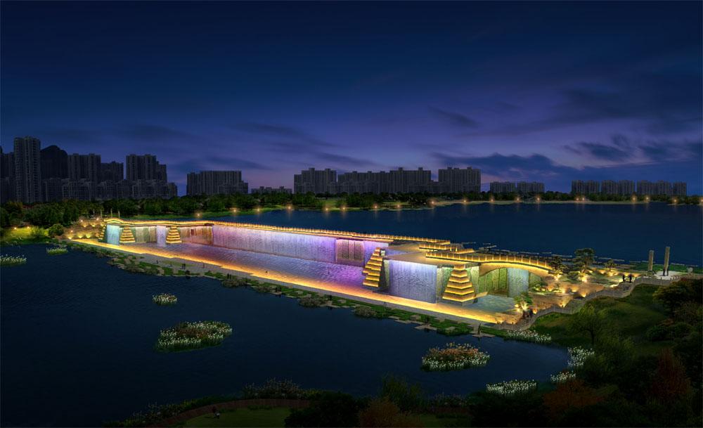 昭通省耕山水公园瀑布景观亮化工程案例