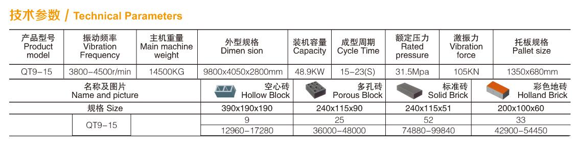 全自动制砖机QT9-15参数