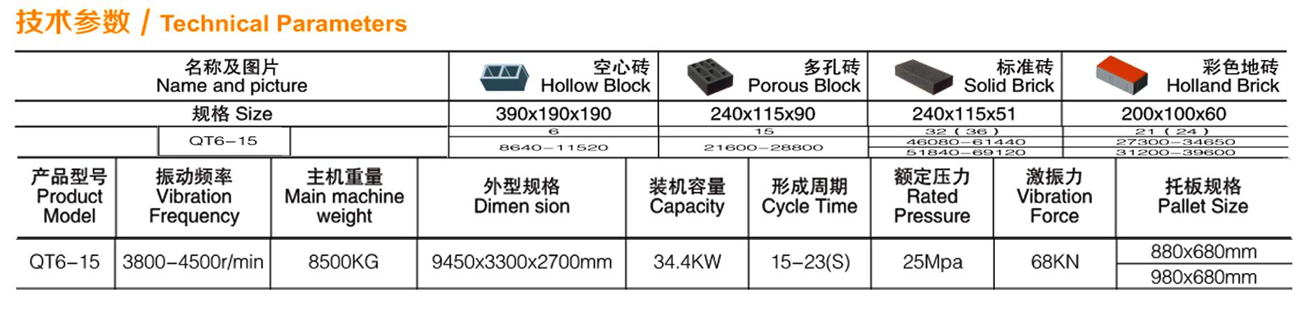 全自动制砖机QT6-15参数