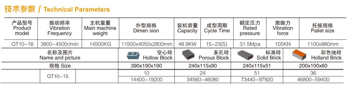 全自动砖机QT10-15参数