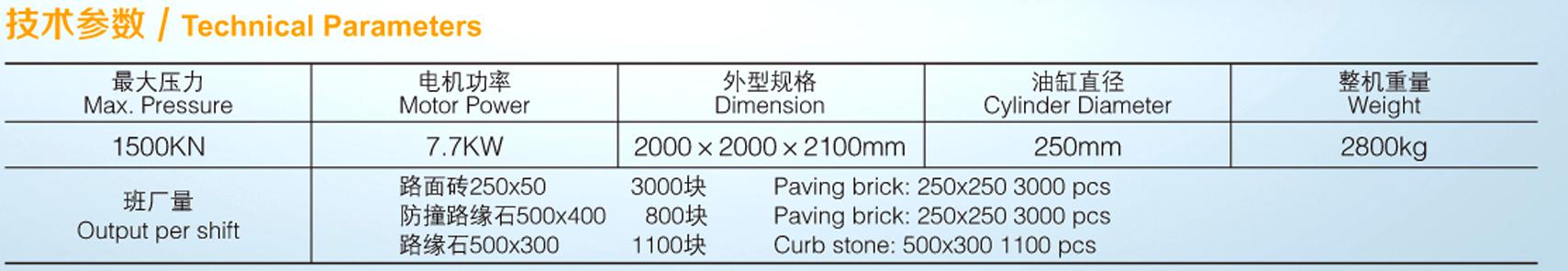 全自动液压砖机ZPY-1500参数