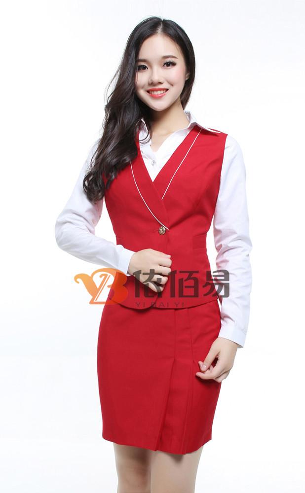 红色美容院工作服