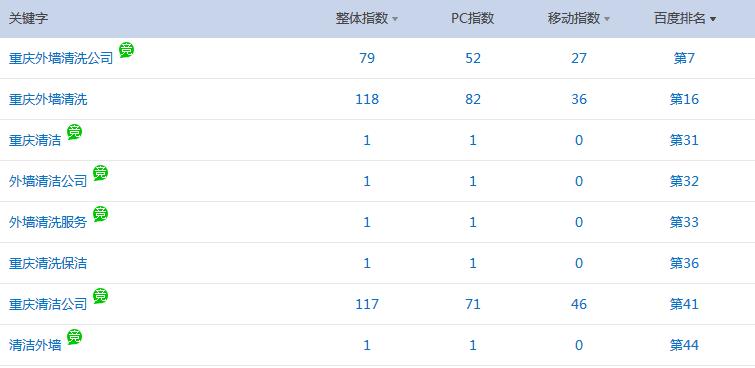 重庆外墙清洗公司网站seo优化与富海360合作效果展示